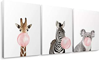 Niwo Art-Pink Bubble Gum, 3-Piece Animal Canvas Wall Art Home Decor,Framed Ready to Hang