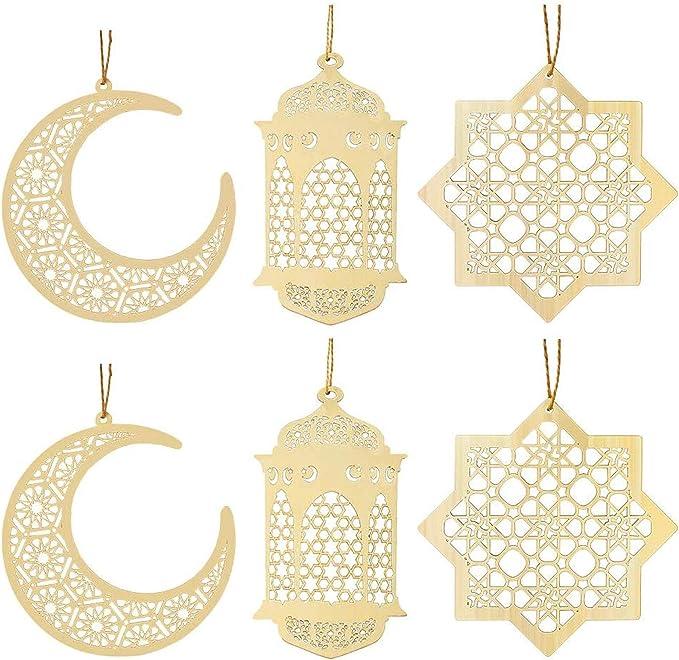 137 opinioni per 6 Pezzi di Legno Ciondolo in Legno Ornamento Eid Decorazioni Fai da Te con La