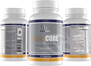 Ketolabs Keto Core Daily Multivitamin Pills for Men and Women. Contains Electrolytes, Magnesium Chelate and Potassium, Minerals, Vitamin B, C, D, E, & Probiotics. Zero Carb Health Supplement for Ketogenic, Intermittent Fasting, Atkins, and Low Carb Weight Loss Diets. Free Keto Cheat Sheet Guide with Purchase. 30 Day Supply. 90 Capsules.