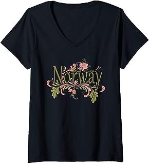 Womens Norway Rosemaling Norwegian Gift V-Neck T-Shirt