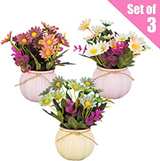 YAPASPT 8 in. Mixed Artificial Wild Daisy - Dwarf Multiple Color Wildflower in Ceramic Pot (Set of 3)