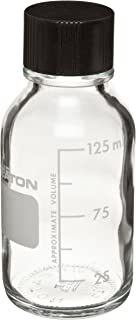 Wheaton 219755 Media Bottle, 125ml Clear Glass, Graduated with 33-430 Solid Black Phenolic 14B Rubber Lined Cap, Autoclavable (Case of 48)