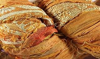 Recycled Sari Silk Ribbon- Fair Trade- Orange- 100g Skein
