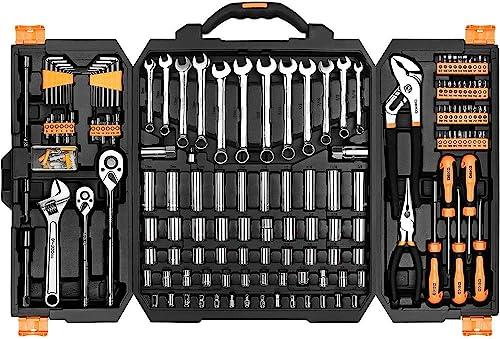 new arrival DEKOPRO 192 Piece Mechanics Tool Set Socket Wrench Set,Auto lowest Repair Hand Tool Kit Wrench Tool online sale Box Set with Plastic Storage Case online sale