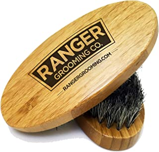 Wooden Boar Hair Bristle Beard Brush by Ranger Grooming Company by Leven Rose, Perfect For a Beard Grooming Kit for Men, Made of Boars Hair Bristles and Firm Natural Wood, Great For Men's Gift