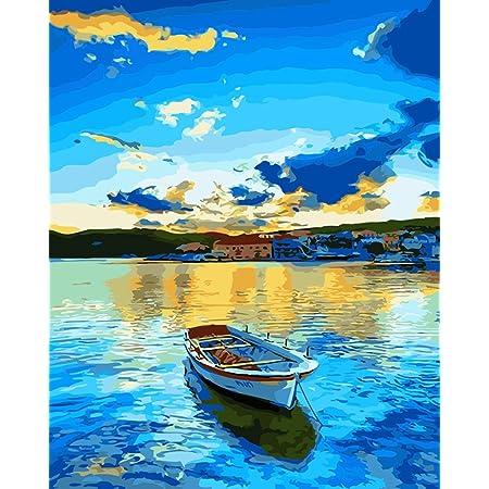 WONZOM 油絵 数字キットによる絵画 塗り絵 大人 手塗り DIY絵 デジタル油絵 40x50センチ 湖(フレームレス)