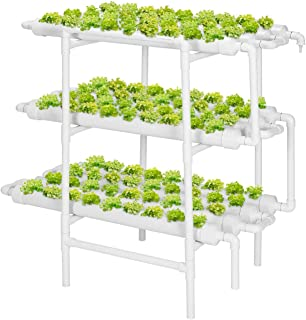 Hydroponic Grow Kit, 3 Layers 108 Plant Sites 12 PVC Pipes Hydroponics Growing System with Water Pump, Nest Basket and Spo...