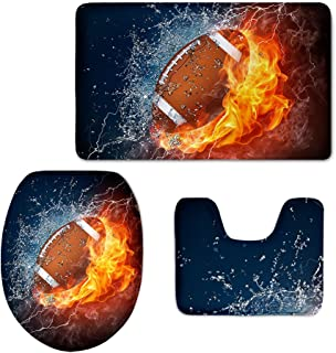 CHAQLIN Soft Flannel Washable Bath Rug Toilet Contour Mat Lid Cover 3 Pcs/Set with Fire Water Football Printing