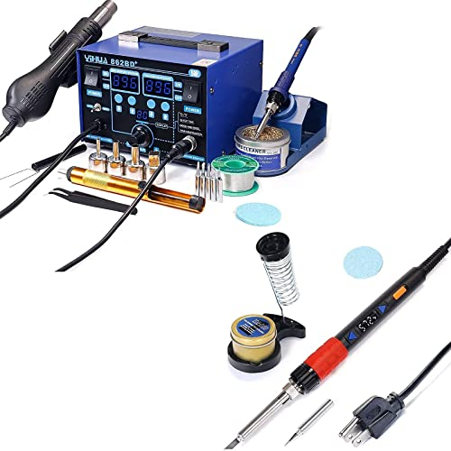 wholesale YIHUA 862BD+ Professional Soldering & Rework Station bundle with YIHUA 928D-III High new arrival Power Soldering Iron as Secondary/Backup Iron Holder, Soldering Cleaning Kit, and Accessories 2021 (24 Items) sale