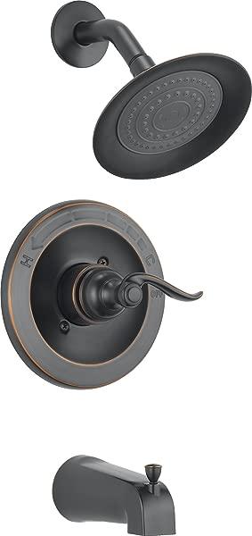 三角洲水龙头 Windemere 单功能浴缸和淋浴装饰套件单喷雾淋浴头油擦青铜 BT14496 OB 阀门不包括在内