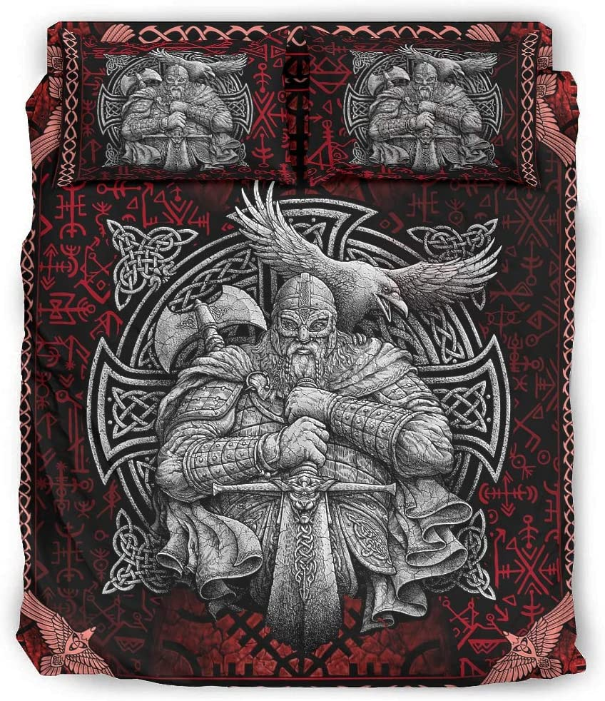 Hanebar Fashionable Laickter 4 Piece Bed Set Super popular specialty store Wrinkle Fre Viking Odin Novelty