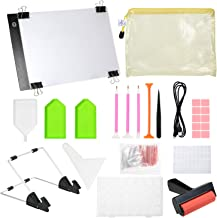 130 Pieces DIY Diamonds Painting Tools and Accessories Kits with A4 Tracing Light Box Multi-Size Diamond Pen Tray Kits Fix...