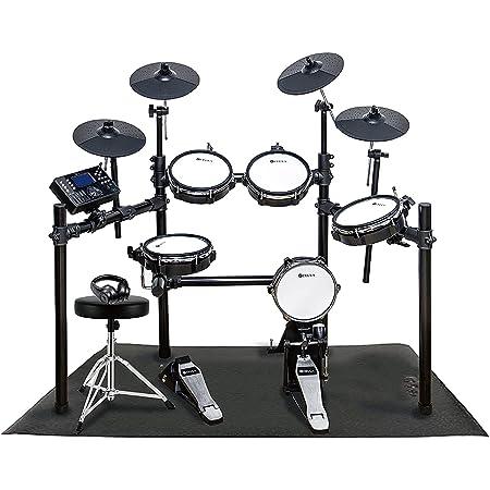 CEULA 電子ドラム 5ドラム4シンパル 折りたたみ式 USB MIDI機能 300種類音色 30デモ曲 高さ調整イス付き 日本語説明書【PSE認証済】【12ヶ月保証】 (ドラム+防音マット)