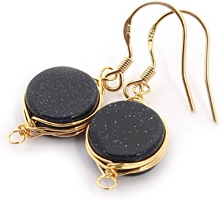Natural Stone Wire Wrap Dangle Drop Earrings Gold Plated 925 Sterling Silver Hook/Blue Goldstone Round 10mm