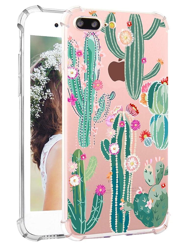 iPhone 7 Plus Case Cactus iPhone 8 Plus Case Hepix Cute Cactus Soft Clear TPU Flexible Protective Bumper Cover Case for iPhone 7 Plus iPhone 8 Plus[5.5 inch]