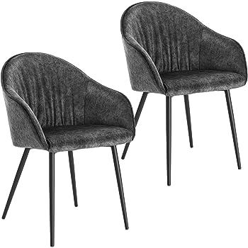 Lestarain 2er Set Esszimmerstühle, Küchenstuhl Polsterstuhl Sessel Aus Samt Mit Armlehne Metallbeine, Stuhl Für Esszimmer Wohnzimmer, Dunkelgrau