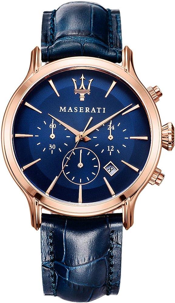 Maserati orologio da uomo, collezione epoca cronografo, in acciaio, pvd oro rosa R8871618007
