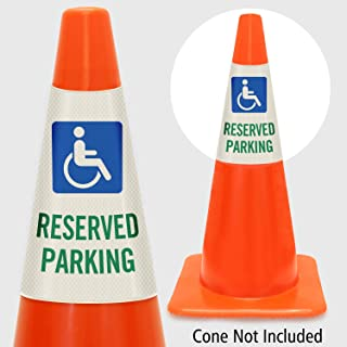 """SmartSign """"Reserved Parking with Handicapped Symbol"""" Bright Reflective Cone Message Sleeve, [Cone Not Included]"""