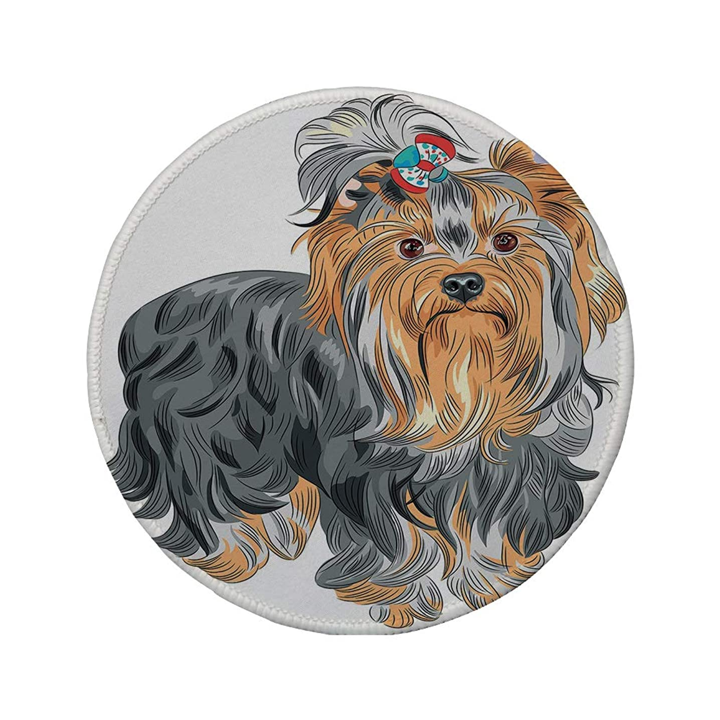 Non-Slip Rubber Round Mouse Pad,Yorkie,Terrier with Cute Bow on Head Colored Sketch Speckled Dog Lifelike Beast Yorkie,Grey Apricot,11.8