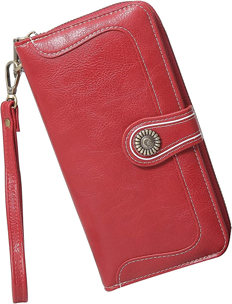 Y yongyuan portafoglio porta carte di credito per donna in ecopelle rossa 4