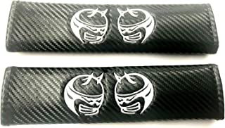Auggies Scat Pack Super Angry Demon Bee SRT Carbon Fiber Embroidery Car Seat Belt Covers Leather Shoulder Pads for Challenger Charger