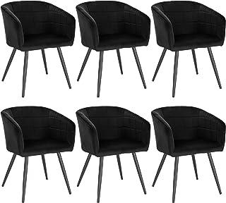 WOLTU 6X Sillas de Comedor Sillas de Cocina Dining Chairs Sillas Tapizada Salón con Reposabrazos Sillas Terciopelo con Respaldo Patas de Metal Silla de Oficina Negro