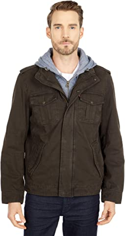 Two-Pocket Hoodie with Zip Out Jersey Bib/Hood and Sherpa Lining