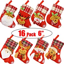 "Danirora Mini Christmas Stockings Bulk, [16 Pack] 6"" Small Xmas Stockings for Kids Goodie Bags - Santa Snowman Decoration ..."