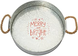 Brownlow Gifts Galvanized Metal Round Serving Tray, Merry and Bright