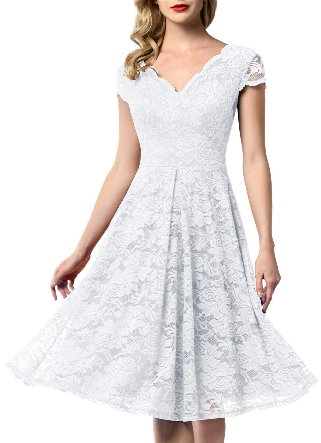 White Dress - Women's Elegant Round Neck Short Sleeves V-Back Floral Lace Cocktail Party A Line Dress 910