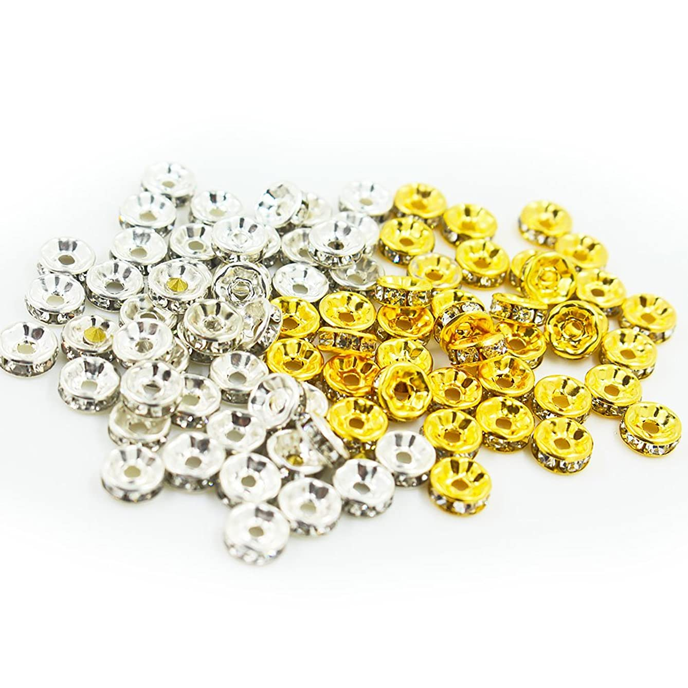 100 PCS 8mm Rondelle Spacer Beads Crystal Beads for Jewelry Making, Silver Plated & Gold Plated