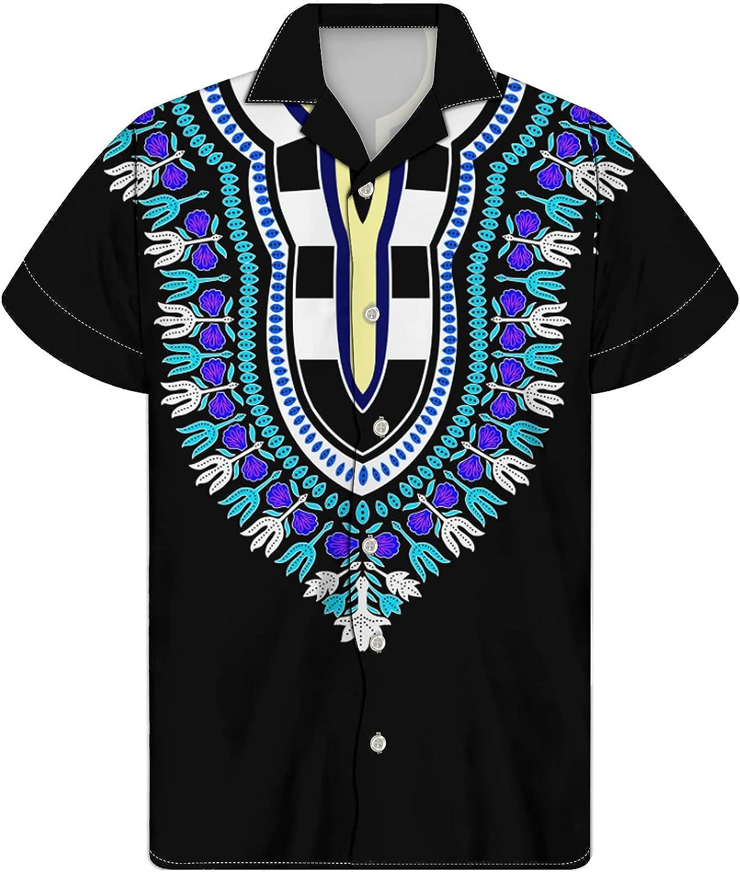 ENLACHIC Mens African Dashiki T Shirt Tribal Floral Print Casual Button Down Cuba Collar Shirts