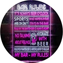 My Bar My Rules Man Cave Home Bar Beer Décor Dual Color LED Neon Sign White & Purple 300 x 400mm st6s34-i3414-wp