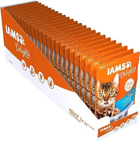 Iams Delights Nassfutter (für erwachsene Katzen, mit Thunfisch & Hering in Gelee), 24 Frischebeutel (24 x 85 g)