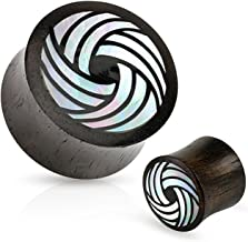 Inspiration Dezigns Tribal Circle Mother of Pearl Inlay Organic Black Wood Saddle Fit Plugs - Sold as Pairs