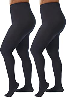 Womens Plus Size Opaque Microfiber Casual Tights- 2 Pairs