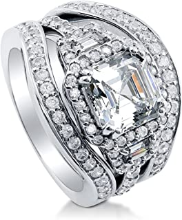 BERRICLE Rhodium Plated Sterling Silver Asscher Cut Cubic Zirconia CZ Art Deco Halo Engagement Wedding Ring Set 4 CTW