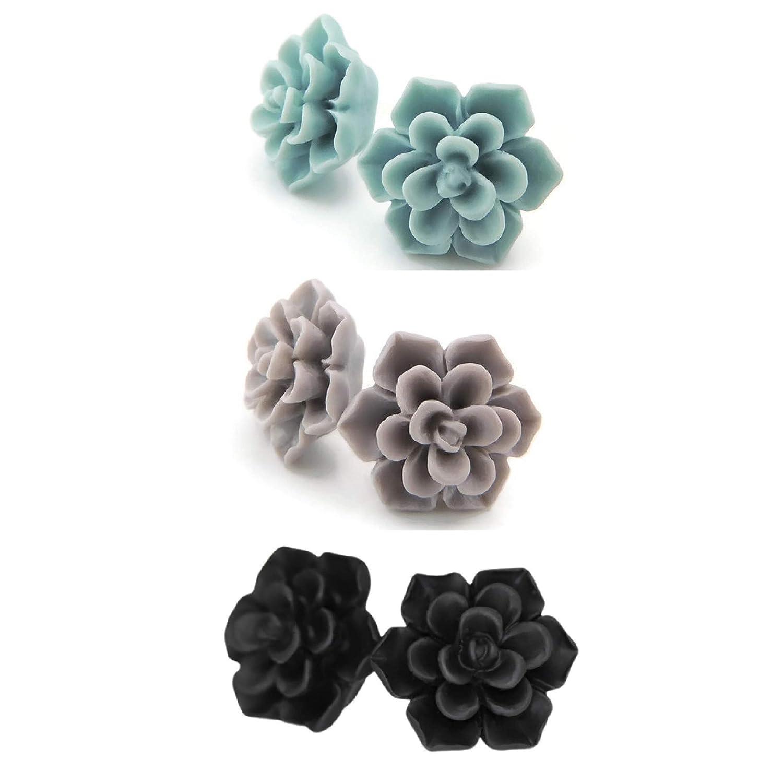 Metal depot Free Plastic Post Succulent quality assurance Earrings Pale Gre Matte Aqua