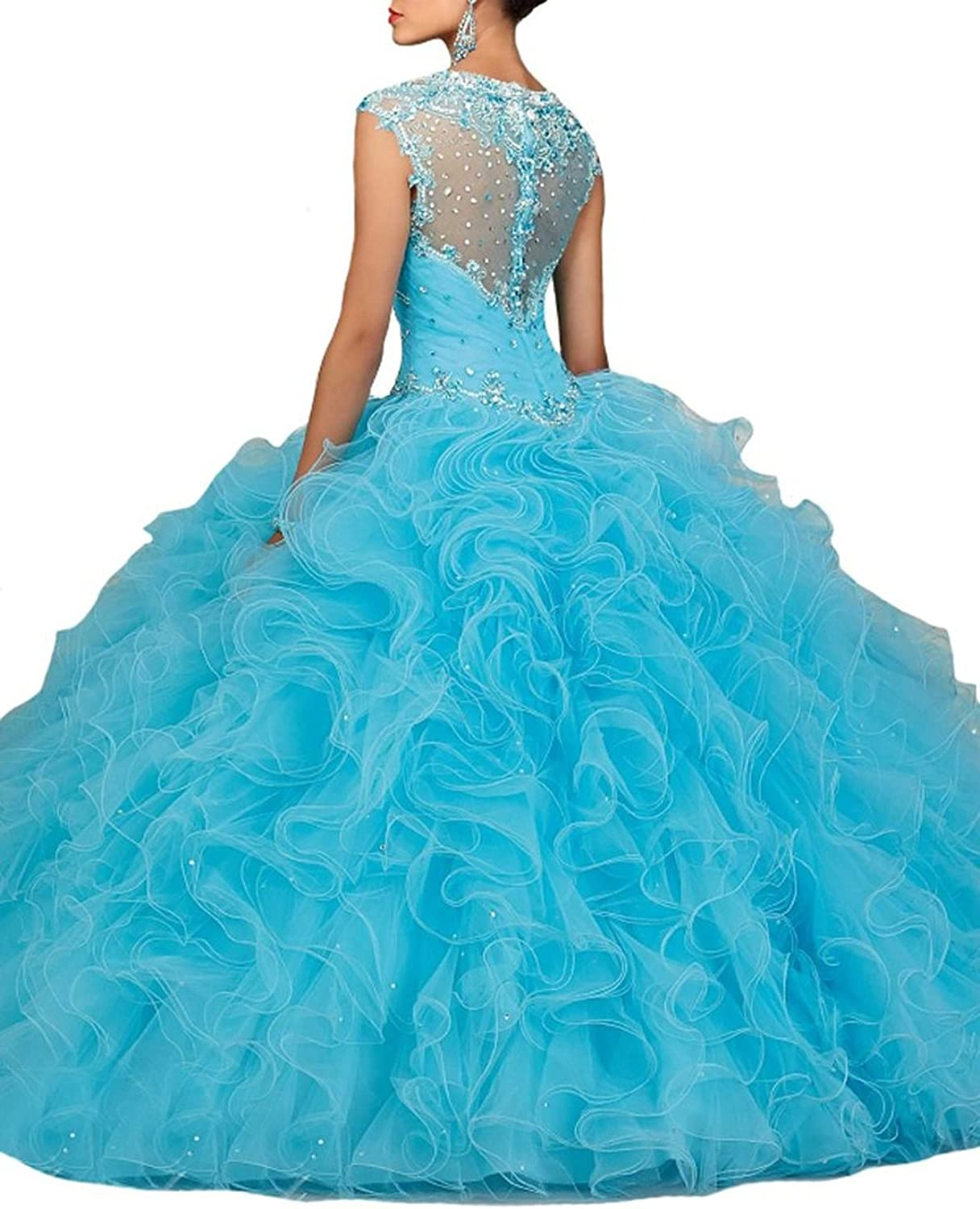Engerla Women's Sweetheart Strap Ruched Layered Beaded Organza Quinceanera Dress