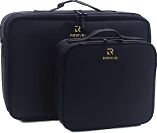 Relavel Makeup Case Train Case Makeup Bag Cosmetic Makeup Brush Organizer Makeup Artist Box 2 Pack Large and Small Size with Adjustable Dividers