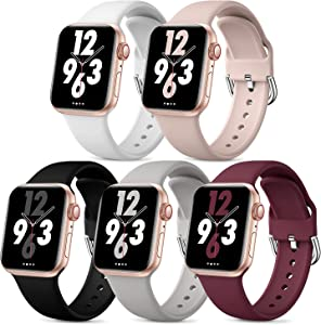 Bravely klimbing 5 Pack Bands Compatible with Apple Watch Bands 38mm 40mm 41mm for Women Men, Soft Silicone Sport Replacement Strap Compatible with iWatch Series 7 Series 6 Series 5 4 3 2 1 SE, M/L