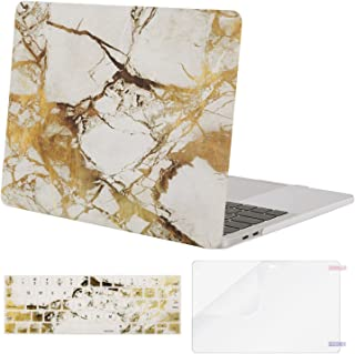 MOSISO MacBook Pro 13 inch Case 2019 2018 2017 2016 Release A2159 A1989 A1706 A1708, Plastic Pattern Hard Shell & Keyboard Cover & Screen Protector Compatible with MacBook Pro 13, White Gold Marble