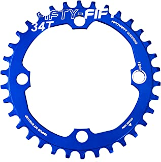 FIFTY-FIFTY 104BCD Narrow Wide Chainring, Single Chainring for 9/10/11-Speed with 4 Alloy Chainring Bolts