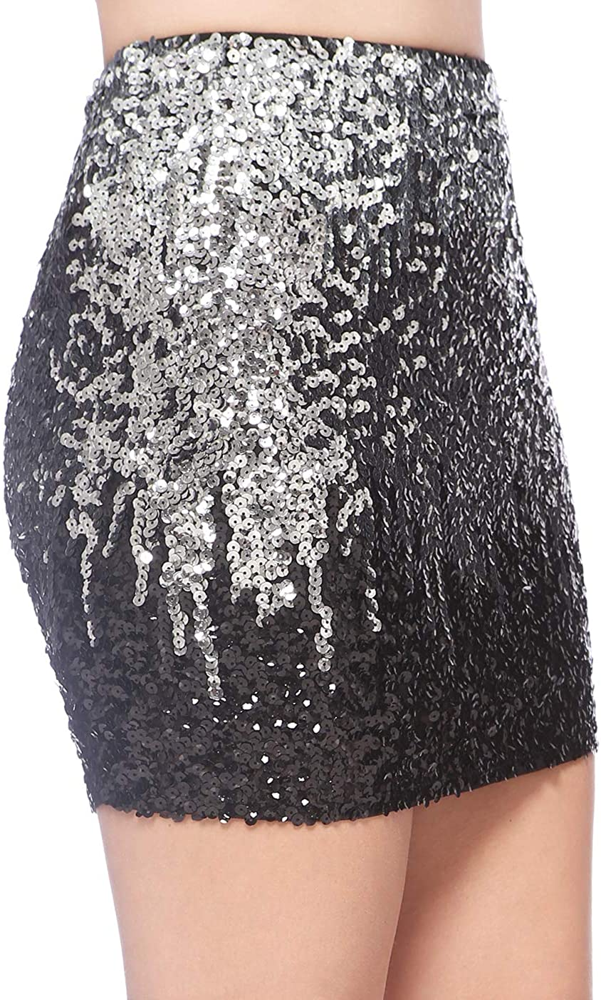 Anna-Kaci Women's Elastic Waist Bodycon Sparkle Sequin Night Out Party Mini Pencil Skirt