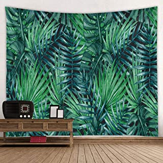 BROSHAN Green Leaves Tapestry Wall Hanging, Summer Tropical Palm Banana Leaf Tapestry Plant Wall Art Fabric for Bedroom Dorm Living Room, 52 x 60