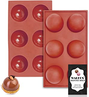 Large 6-Cavity Semi Sphere Silicone Mold, Half Sphere Silicone Baking Molds for Making Chocolate, Cake, Jelly, Dome Mousse...