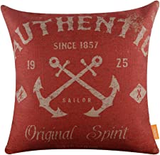 LINKWELL 18x18 Vintage Marine Anchor Sea Authentic Burlap Cushion Covers Pillow Case (CC1041)