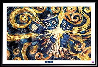 Framed Doctor Who - The Exploding Tardis 36x24 TV Show Dry Mounted Poster in Basic Detail Wood Frame