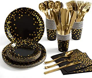 Party Supplies, ELECDON 175 Pieces Golden Dot Disposable Party Dinnerware, Black Paper Plates Napkins Cups, Gold Plastic F...