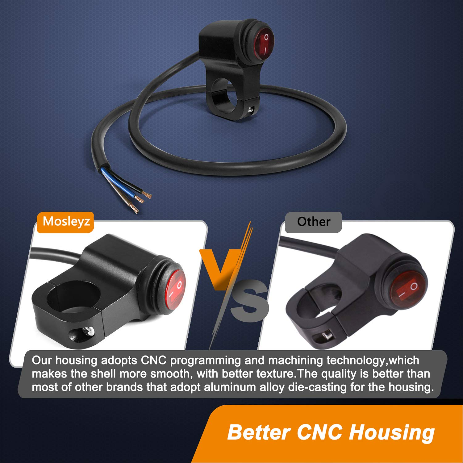 Details about  /Waterproof CNC Scooter Handlebar Thumb Switch Self Latch On//Off Button Cable 1x